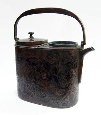19th c.Japanese Lacquered Wood and Copper Shoto (Portable Stove in Box to Fit - Shoto View