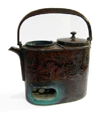 19th c.Japanese Lacquered Wood and Copper Shoto (Portable Stove in Box to Fit - Side View