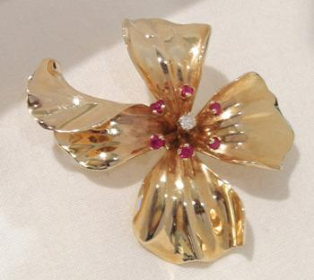 14K YG Ruby and Diamond Flower Brooch/Pin - 1930's - View 2