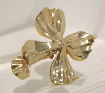 14K YG Ruby and Diamond Flower Brooch/Pin - Reverse View