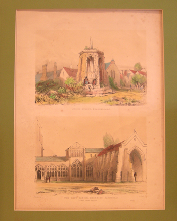 Antique English Artist's Proof Double Print 'STONE PULPIT, BLACKFRIARS' Top, 'THE LADY ARBOUR, HEREFORD CATHEDRAL' Bottom