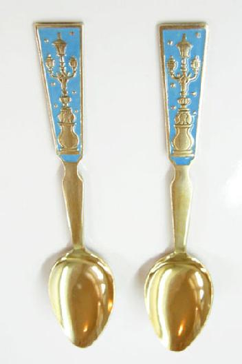 Pair Vintage Russian 875 Gilt Sviler Enamel Spoons - Lampposts - Alternate View