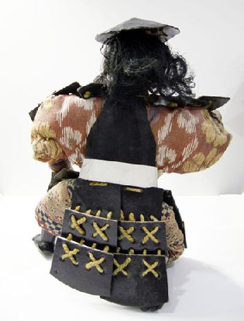 "Antique Japanese Musha Retainer Doll - 9 1/2"" - Rear View"