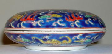 Chinese Porcelain Dragon Box Side