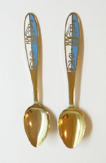 Vintage Pair of Russian Gilt Silver Enamel Spoons -Blue and White with Tall Ships