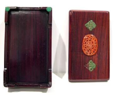 Old Chinese Wood Box Inlaid with Carnelian Agate and Spinach Jade - Top and Botton Views