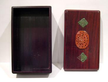 Old Chinese Wood Box Inlaid with Carnelian Agate and Spinach Jade - Top and Interior View