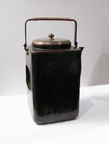Antique Japanese Copper Mengei `Shoto� (Small Portable Stove) - Right Side View