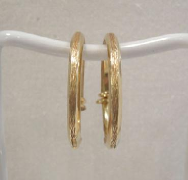 Pair of Vintage Itallian 18k YG Textured and Polished Hoop Earrings - Front View