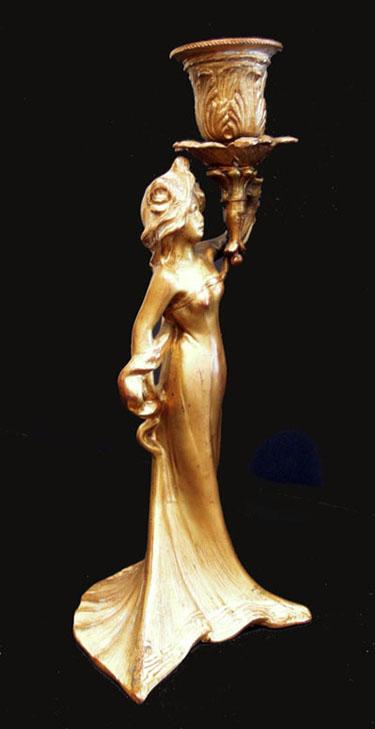 Art Nouveau Gilt Metal Figural Candlestick - Side View