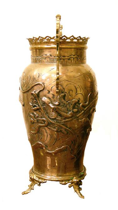 Pair of French Bronze-Mounted Japanese Brass Vases - Side View