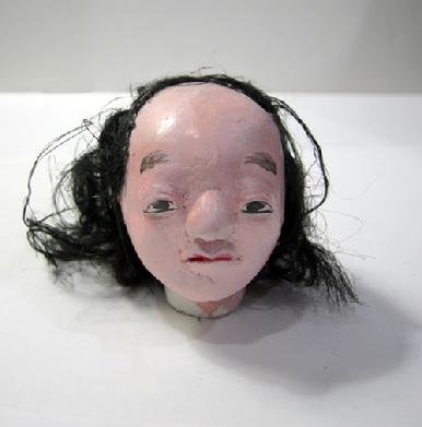 "Antique Japanese Musha Retainer Doll - 9 1/2"" - View of Doll's Head"