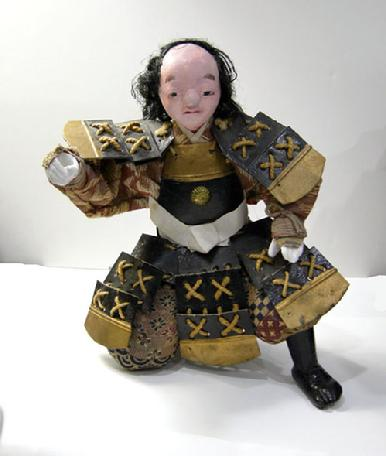 "Antique Japanese Musha Retainer Doll - 9 1/2"" - View -No Hat"