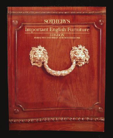 Sotheby Auction Catalogue: Important English Furniture - Nov., 1990 London