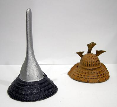 Two Miniature Japanese Kubutos (Helmets) - Reverse View