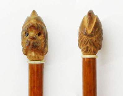 Rare WWII U.S. Carved Wood Swagger Stick-Dog Wearing WAC Hat- Front and Back Views