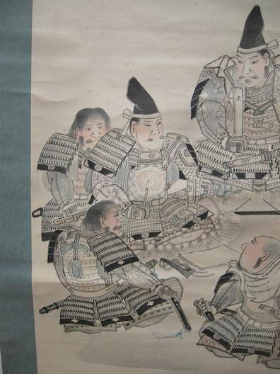 Old Japanese Musha-e (Warrior) Scroll - 5 Samurai- Hand-Drawn - Left Side Closeup View