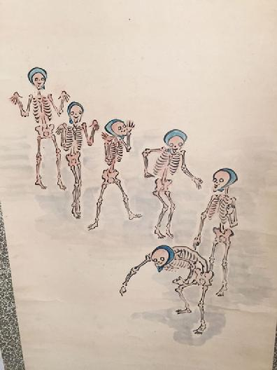 Antique Japanese Hanging Scroll 'Walking Dead Throwing Beans' -Meiji 39, Dec. 06, 1907 - Closeup View of Skeletons