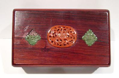Old Chinese Wood Box Inlaid with Carnelian Agate and Spinach Jade - Top View