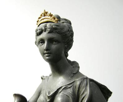 Rare Ansonia Clock Statue - 'Opera' - c. 1894 - Face Closeup