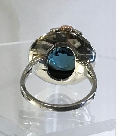 Antique Art Nouveau 14K Three Color Gold and Blue Topaz Ring - ESTATE - View From the Back