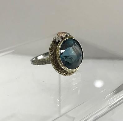 Antique Art Nouveau 14K Three Color Gold and Blue Topaz Ring - ESTATE - View of the Right