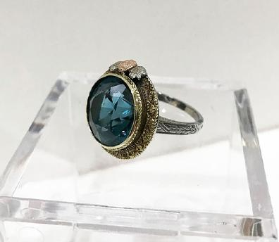 Antique Art Nouveau 14K Three Color Gold and Blue Topaz Ring - ESTATE -View of the Left Side