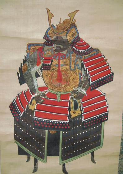 Antique Japanese Musha-e Hanging Scroll - Yorai (Samurai Suit of Armor) - Signed -Image View
