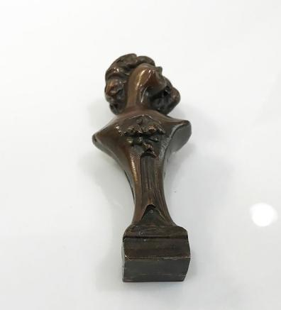 19th c. Art Nouveau Bronze Clad Figural Seal - Bust of a Woman - View of the Bottom