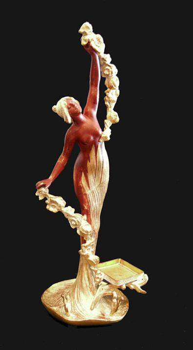 Large Art Nouveau Gilt and Painted Metal Figure of a Maidenl