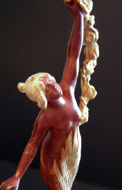 Large Art Nouveau Gilt and Painted Metal Figure of a Maiden - Closeup View