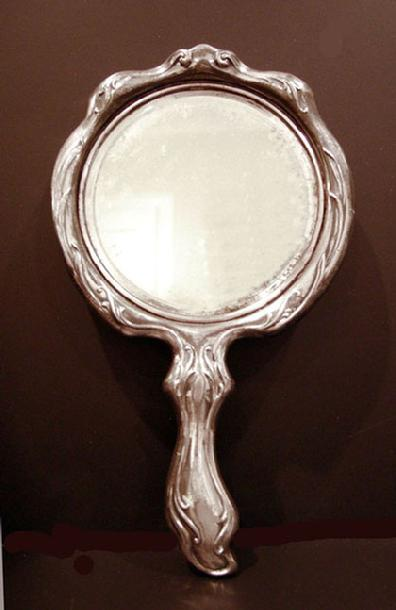 Art Nouveau Silverplate Figural Hand Mirror- Reverse View