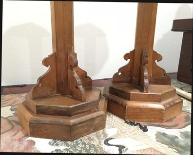 Pair Antique Japanese Carved Wood Shokudai (Candle Stands) - View of Missing Tip on Base