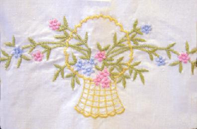 Vintage Embroidered Pair of Guest Towels Closeup