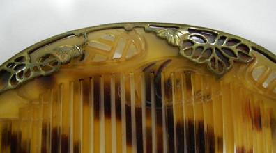 Antique Japanese Bekko Kushi (Comb) & Kogai (Bodkin) Set - Gilt Metal/Silver Frame Closeup View