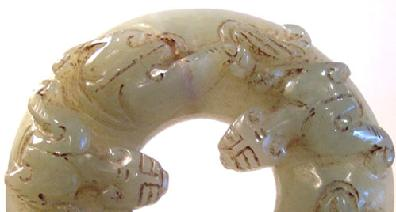 Carved Jade Qilong Bi - Closeup View