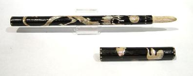 Antique Chinese Black Lackquer/Mother-of-Pearl Calligraphy Brush - Open View