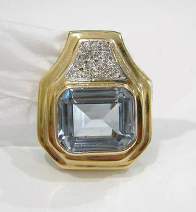 14K Yellow Gold Blue Topaz and Pave Diamond Pendant/Slide - Alternate View