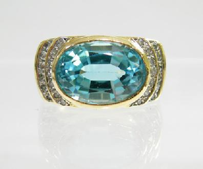 Vintage 14K Yellow Gold Blue Topaz and Diamond Ring - Closeup View