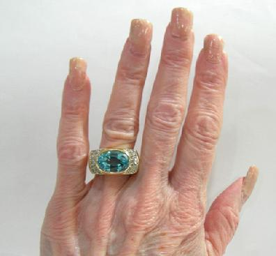 Vintage 14K Yellow Gold Blue Topaz and Diamond Ring - Hand View