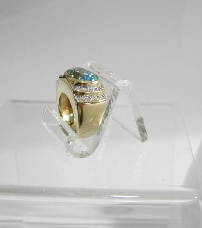 Vintage 14K YG Blue Topaz and Diamond Ring - Side/Top View