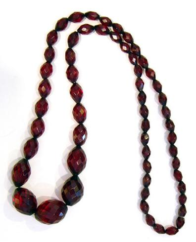 Antique Graduated Faceted Cherry Amber Necklace - 1920's
