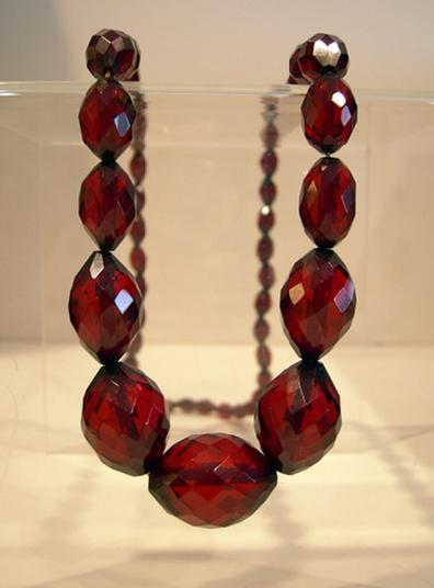 Antique Graduated Faceted Cherry Amber Necklace - 1920's - Closeup View