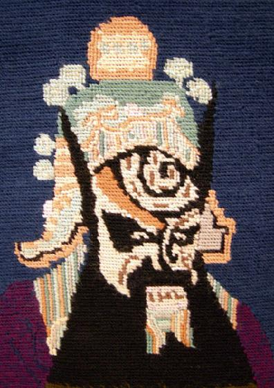 Vintage Custom Hand-Done Needlepoint- Character from the Chinese Opera Closeup