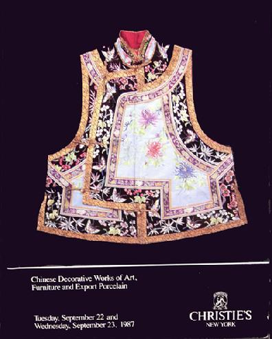 Christie's Auction Catalogue: Chinese Decorative Works of Art, Furniture and Export Porcelain - Sept., 1987