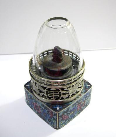 Fine Antique Chinese Floral Cloisonne and Paktong Opium Lamp - Qing - Alternate View
