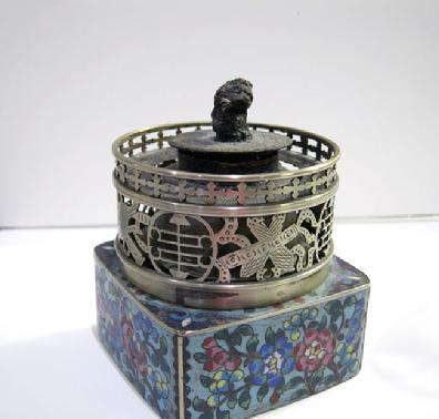 Fine Antique Chinese Floral Cloisonne and Paktong Opium Lamp - Qing - View of Lamp Closeup