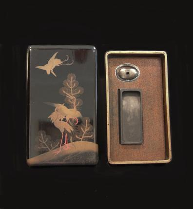 Antique Japanese Suzuribako (Writing Box) - Cranes - Open