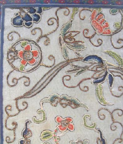 Antique Chinese Silk Ebroider Panel - Qing - Closeup of Detail