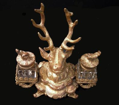 Antique Gilt Metal Deer Double Crystal Inkwell - c. 1880 - Alternate View